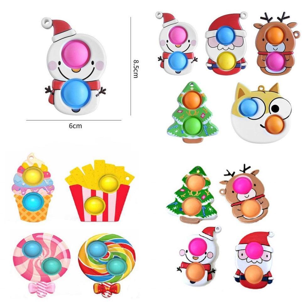 DHL Fidget Sensory Bubble Toys Semplice Dimple AntiTistress Carino Party Favor Natale Push per le mani Squenza Bambini