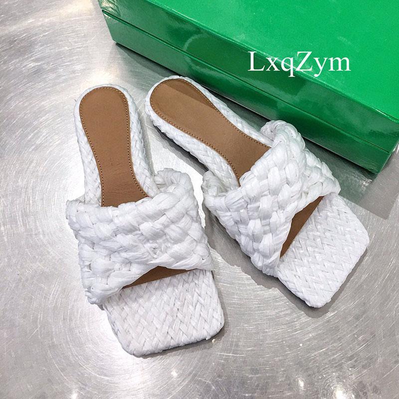 Terlik Çapraz Dokuma Hakiki Deri Düz Kadın Rahat Plaj Ayakkabı Bayanlar Mules Örgülü Tasarımcı Slide Sandalet