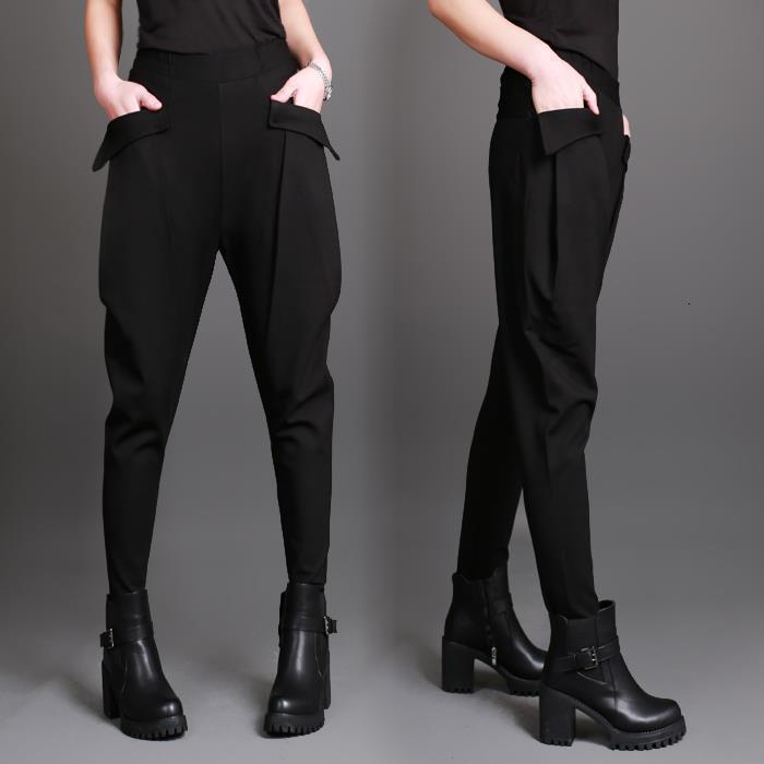 Горячая распродажа! Новые весенние летние женские гаремские брюки повседневные брюки брюки плюс размер больших карманов гарем брюки брюки черный