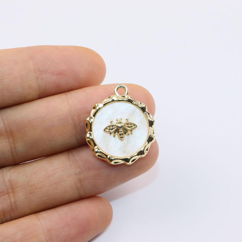 Encantos ERUIFA 6 unids 20 mm Collar de aleación de zinc de la moneda de lujo de 20 mm, pendiente de la pulsera Joyería DIY Hecho a mano 2 colores