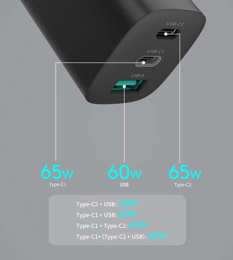 65W Gan Wall Charger 2 * PD3.0 Type-C + 1 * QC3.0 USB-A محول شحن سريع 3 ميناء مع سدادة قابلة للطي جميع الهواتف الذكية