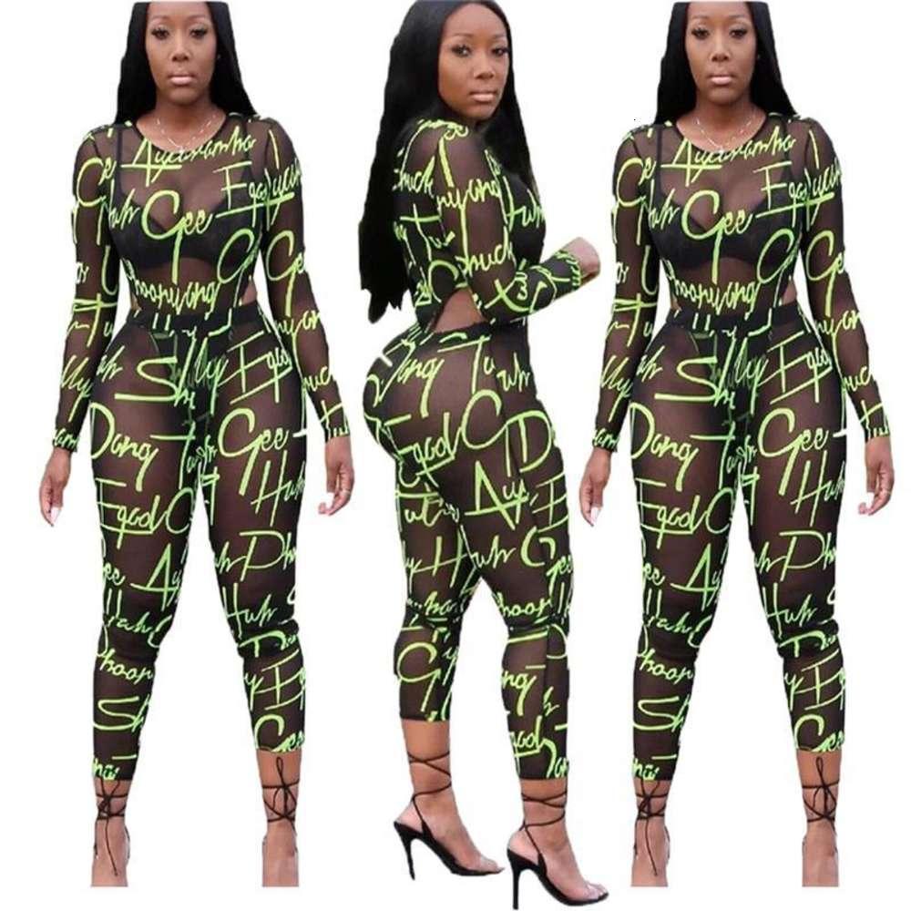 섹시한 두 조각 세트 여자 복장 긴 소매 메쉬 편지 바디 콘 여성 패션 의류 Bodysuit 2 piece clubwear
