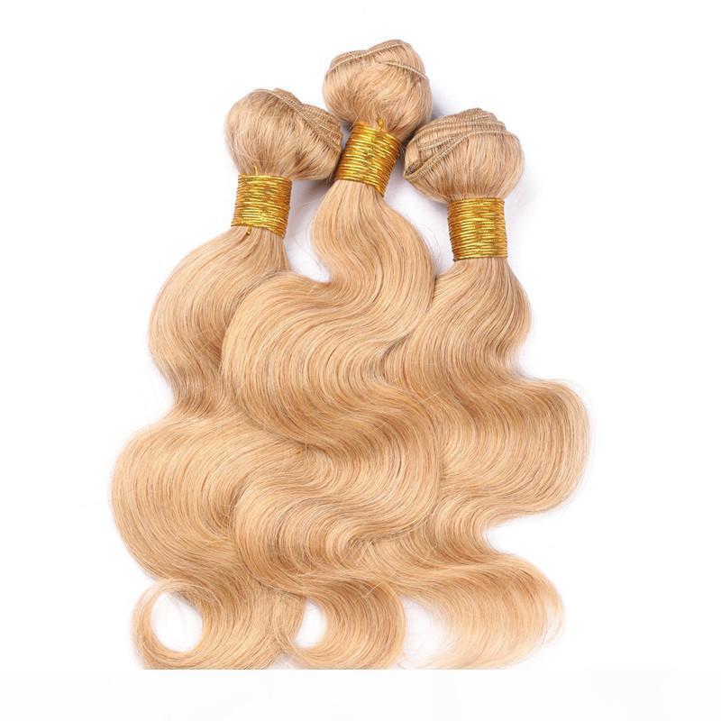 Лучшее качество Virgin Brazilian клубника блондинка человеческих волос пучки 3шт волна тела # 27 медоносные блондинки человеческие волосы раздвижные расширения путаницы