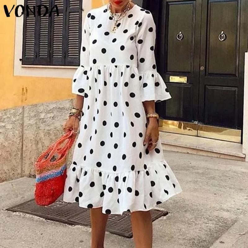 Midi Bohemian Vintage Polkea Dot Vestido 3/4 Sleeve Ruffle 2021 Vonda Vacaciones de verano Sundress Femininas
