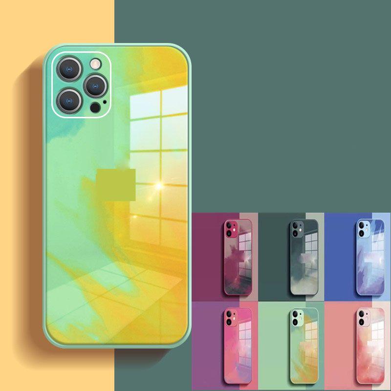 Aquarellglas Telefon Hüllen für iPhone 12 Pro 11 XR XS MAX 8 PLUS 7PLUS 7 SE2020 Stoßfest Graffiti Ölgemälde Schutzhülle Schale