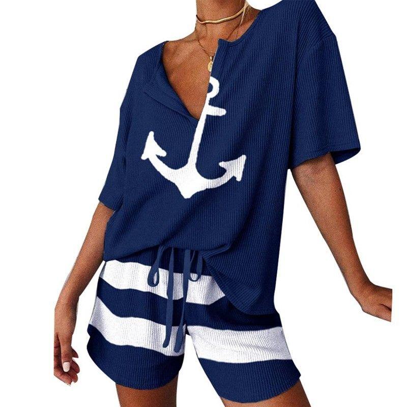 2021 Çapa Tekne Baskı Iki Rahat Kadın Topluluk Eğitim Yaz Seksi Takım Elbise Kısa Kollu Üstler ve Şort 2 ADET Giysileri 2ZV1