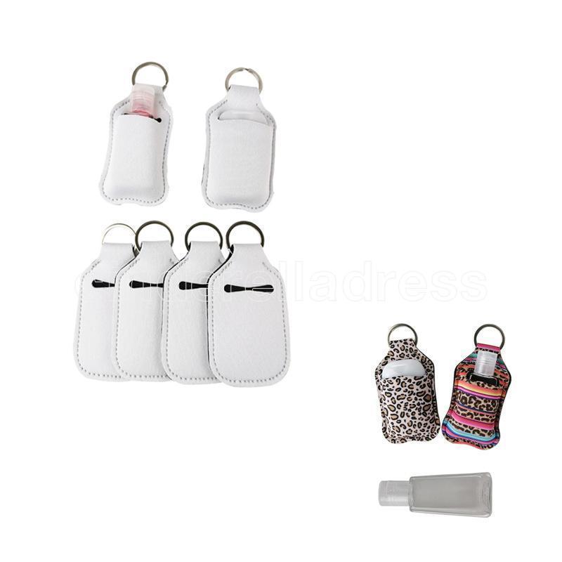 Tenedor de botella de perfume de neopreno en blanco de 30 ml SBR SBR Blank Stainizer Bottle Set Blanco Perfume Botella Titular de la botella Llavero Regalos FY4285