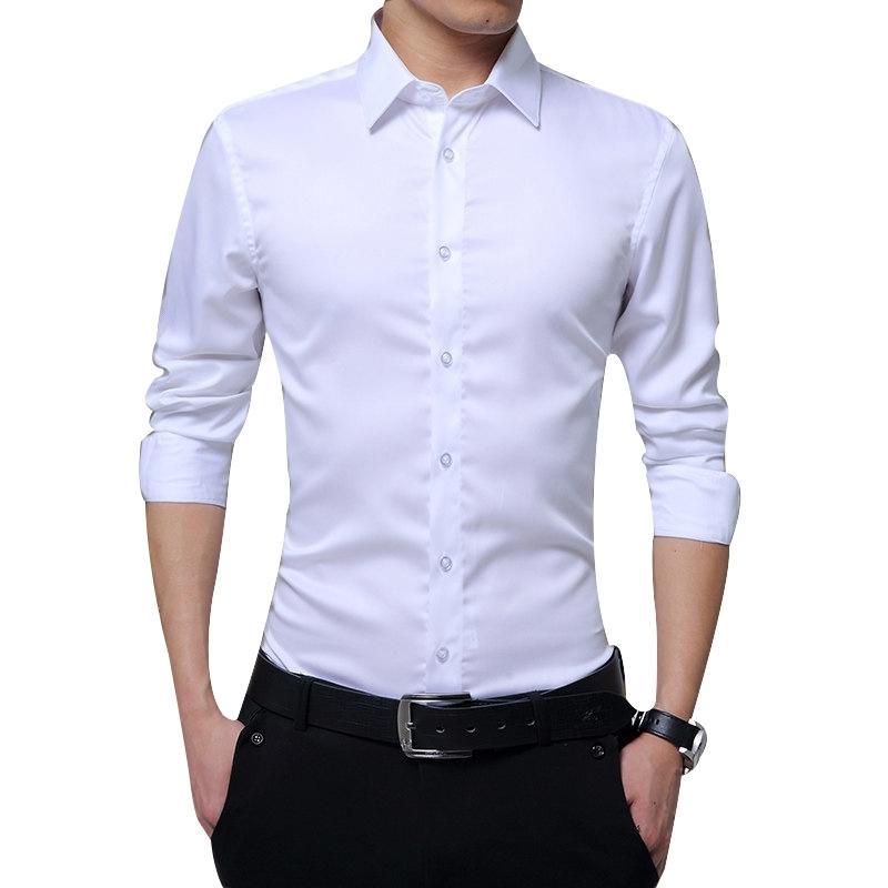 Homens Manga Longa Camisas Slim Fit Business Sólido Camisas Formal para Outono FS99 210310