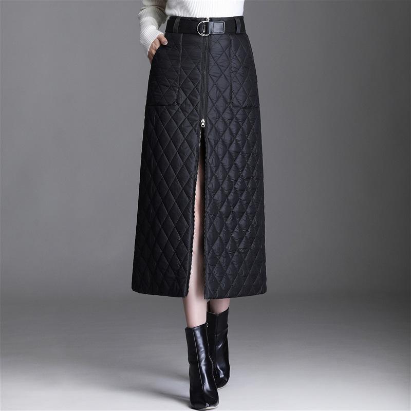 Röcke Herbst- und Winterfrauen-dicke warme Daunen-Baumwollkurz-Kurz-Rock-Halblangen-Reißverschluss-einteiliger hoher Gürtel-Tasche A-Zeile