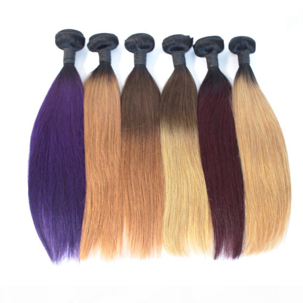 8A Brasileño Recta Human Hair Ombre Color T1B-27 30 99J Straight Ombre Weave Weave 3 Paquetes Rubia Púrpura Borgoña Dark Root