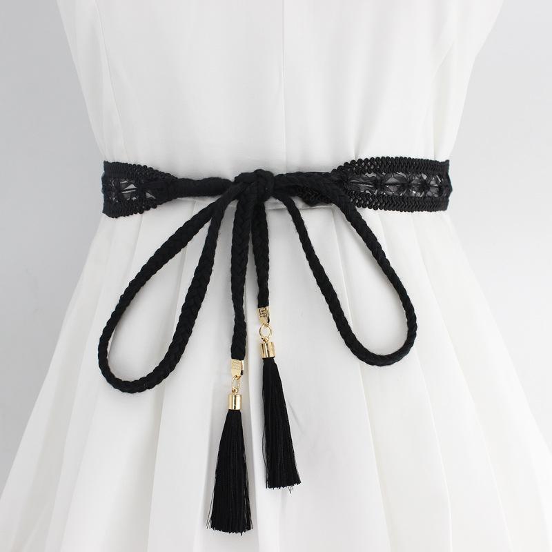 Gürtel Mode Frauen Solide Farbe Geflochtene Quaste Gürtel 2021 Boho Mädchen Dünne Taille Seil Strick Für Kleid Taillenbänder Zubehör