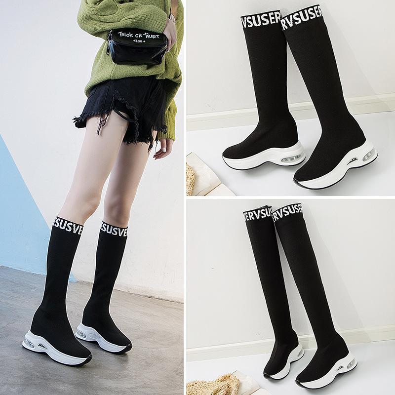 Boots Elastic Over The Knee Women Socks Black Long Thigh High Slim Knitting Sneakers Platform Designer Shoes