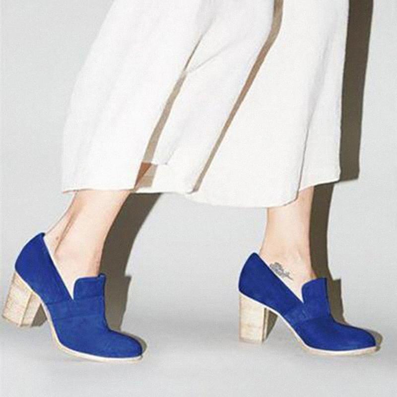 Monerffi Drop Shipping 2019 Yeni Bayan Tıknaz Yüksek Topuk Katı Renk Platformu Yuvarlak Toe Vintage Kayma Ayak Bileği Çizmeler Ayakkabı Satılık Chea B21D #