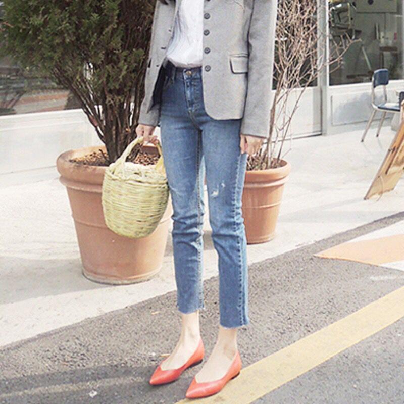 Işık Renk Kısa Düz Namlu Flanfel Kot Chic Kore Yüksek Bel Streç Gösterisi Ince Bölünmüş Pantolon