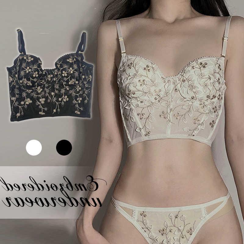 Fleur de perçage rétro Ee Dunne Beha Set Girl White Girl Sexy Souffle Sweet Fairy Large sous-vêtements et collants