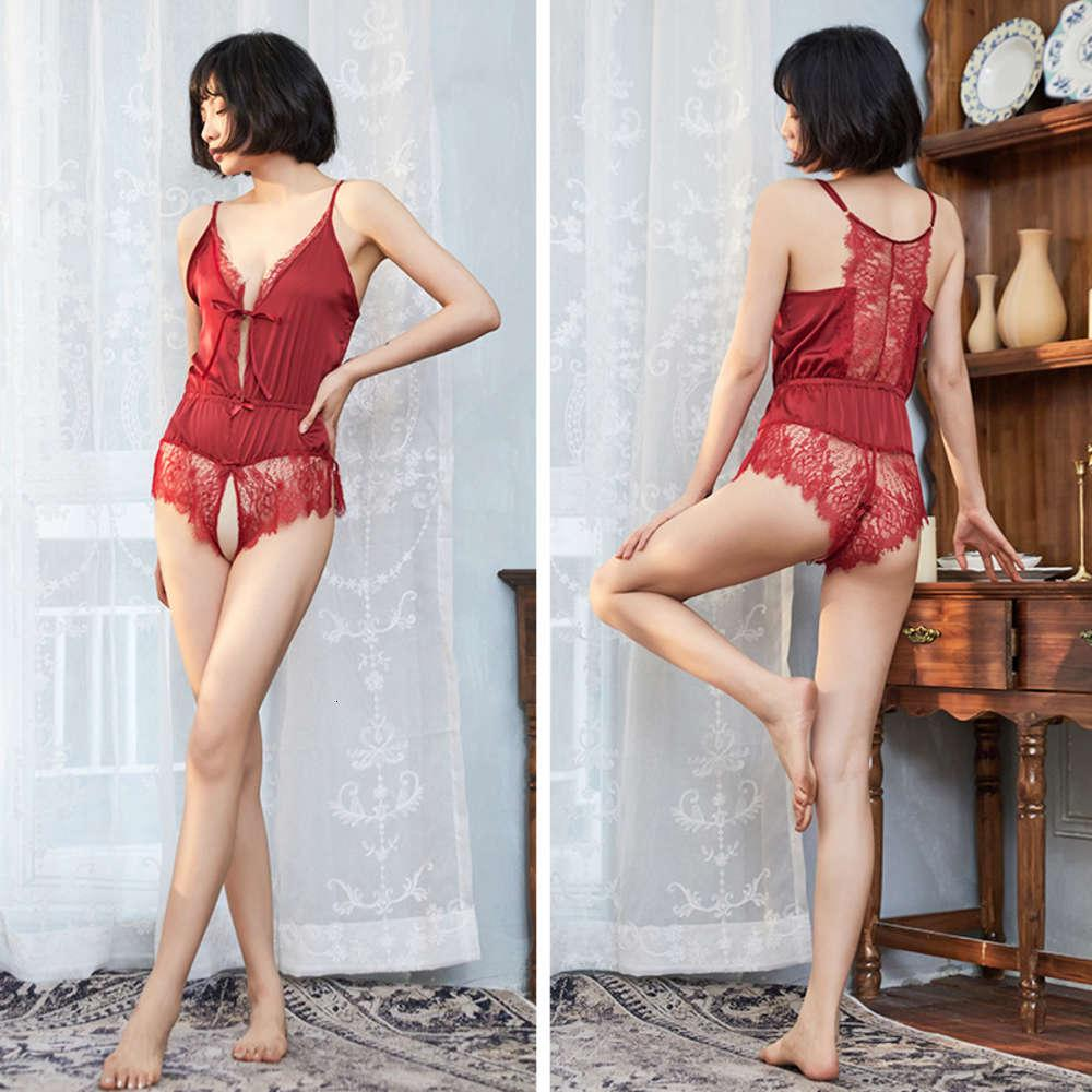 Schöne farn sexy pyjamas charmant versuchung transparent spitze hängende neckkörper formt ein einteiliges kleid backless lingerie weibliche sommer