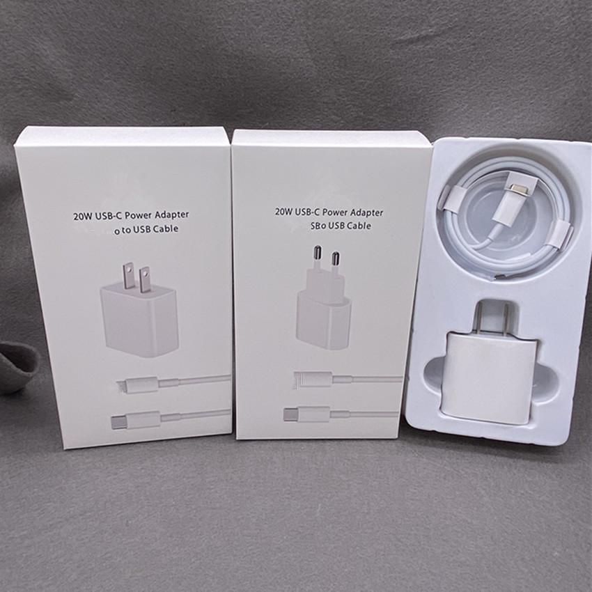 2 en 1 Set Original 18W 20W PD Tipo C Pared CARGADOR RÁPIDO RÁPIDO USB-C Adaptador de alimentación y Tipo C Cable para iPhone 11 12 Pro Max Super Súper Rápido Cargador C Cargador C