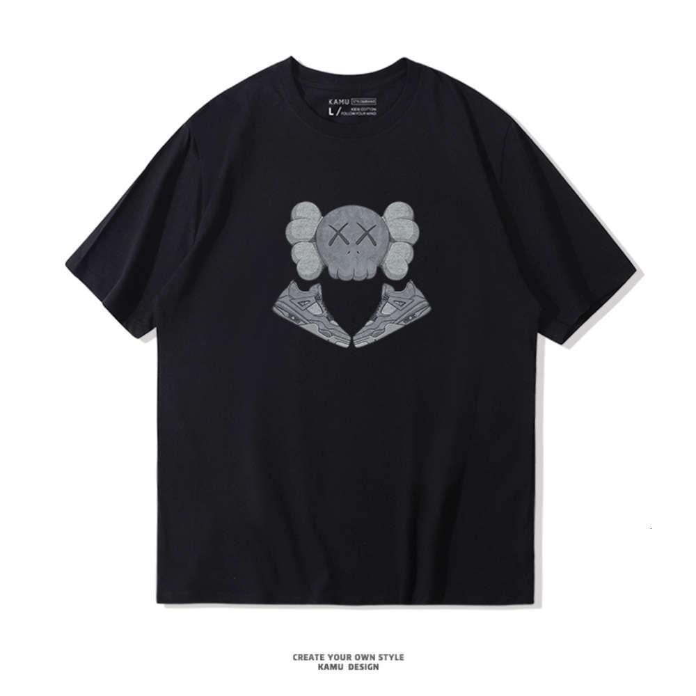 T-shirt da uomo a manica corta CO Branded T-Shirt Cotton Dimensione sciolta Scarpe da pallacanestro per studenti Mezza Tee