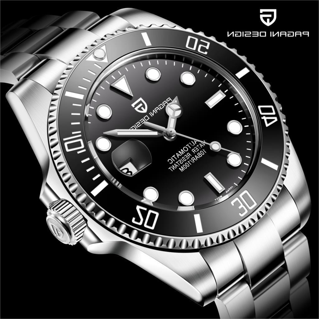 2021 Pagani Design Make Saffierglass Мужчины Автоматические механические часы 100 м Водонепроницаемые мужские спортивные Полярные часы Relogio Masculino