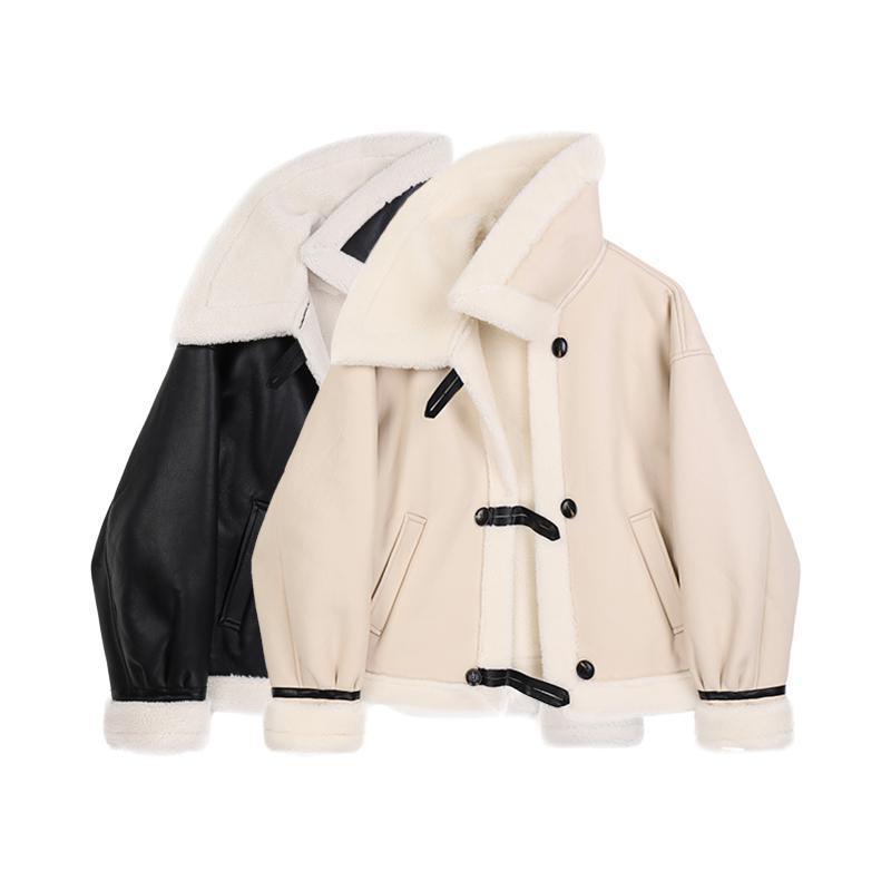 2021 nova jaqueta de couro coreana mulheres mulheres fivela de inverno imitação de pele de pele pu jaqueta de couro tendência de moda