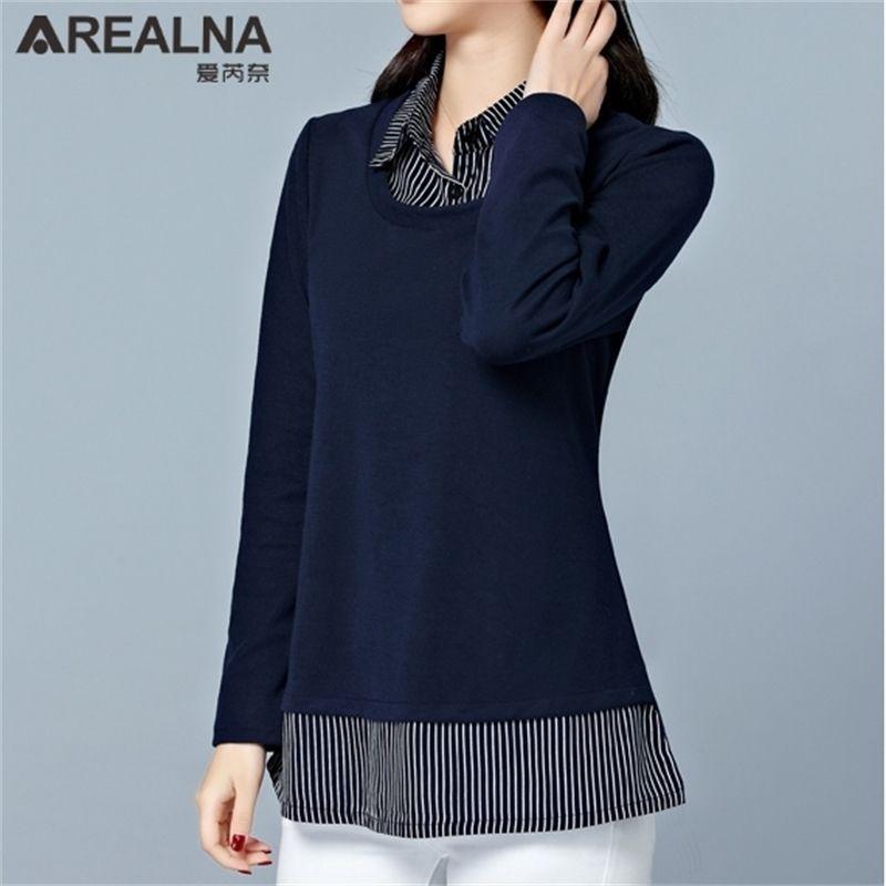 Плюс размер 5XL полоса пэчворк фальшивые две части женские блузки кимоно элегантные дамы офисные топы рубашки блузка блусы CamiSas 210308