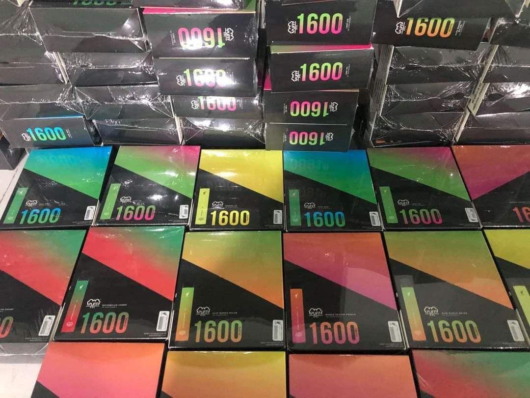 퍼프 XXL 일회용 장치 1600+ 퍼프 18 색 퍼프 바 플러스 Xtra 전자 담배 vape 펜