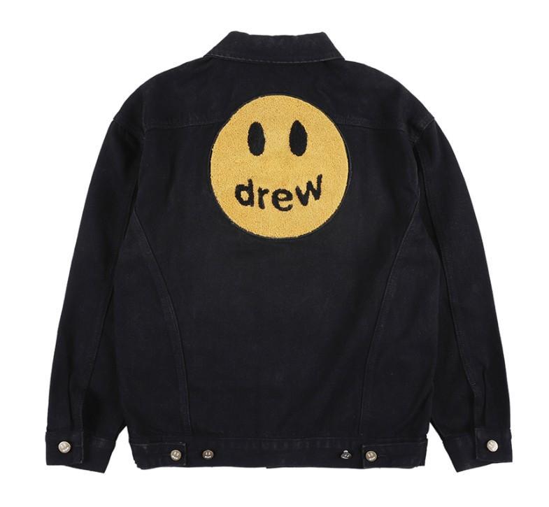 21SS 조류 Drew House Smiley Face Denim Jacket High Street 캐주얼 느슨한 특대 남성 및 여성용 커플 코트 디자이너 자켓
