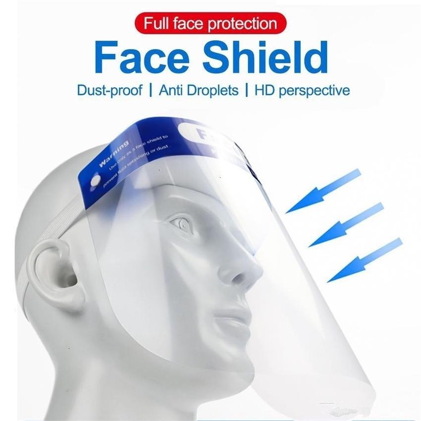 Cubriendo máscaras protectoras de la cara completa Transparente Anti Droplet Mask Protección de seguridad a prueba de polvo Escudo de plástico detener el FZS4U