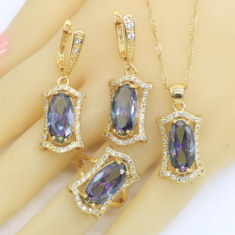 Jewelry Sets Geometric Rainbow Zircon Gold Color for Women Party Wedding Hoop Earrings Necklace Pendant Rings Free Gift Box