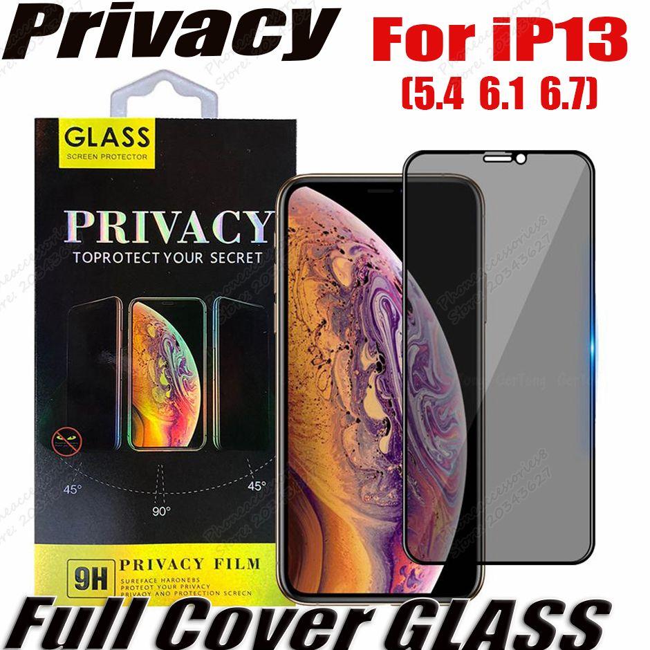 الخصوصية المضادة للطي مكافحة جاسبية غطاء كامل الزجاج المقسى حامي الشاشة آيفون 13 12 11 برو ماكس XR XS سامسونج A72 A52 A42 A22 A22 A22 A02S 5G مع صندوق البيع بالتجزئة