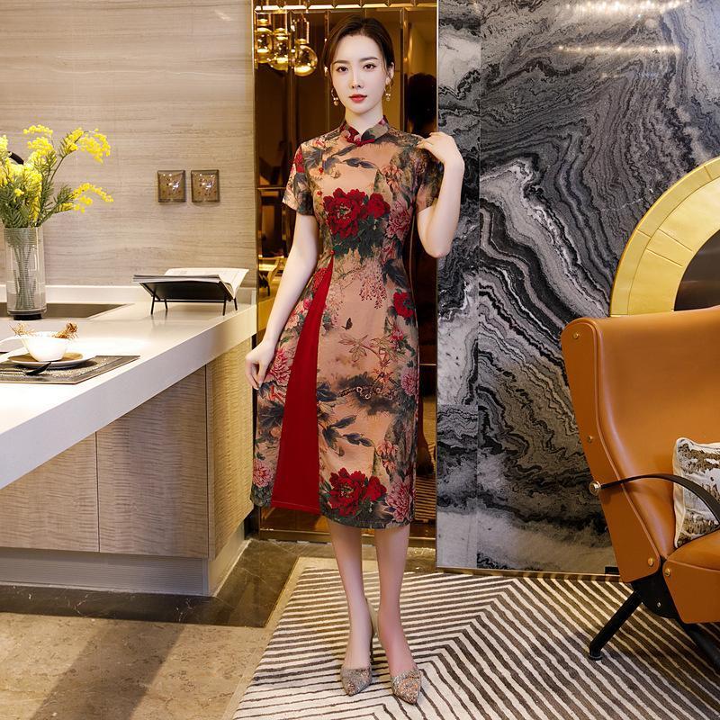 Vintage Button Trim Elegant Chine A-Line Платье Летние Женщины Короткие Рукав Улучшены Cheongsam Цветок Печать Среднего Длина Qipao