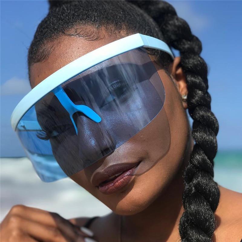 Güneş Gözlüğü 2021 Moda Yarım Çerçeve Kadın Erkek Gökkuşağı Kelebek Güneş Gözlükleri Büyük Kalkan Visor Rüzgar Geçirmez UV400