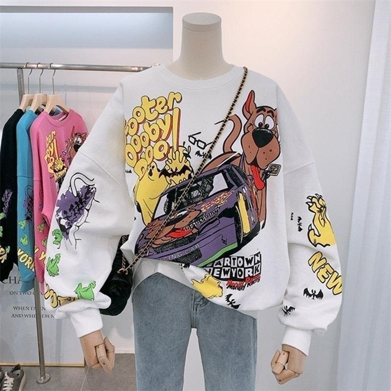 ZITY Cartoon Hoodies Fall Women Tops Thin Type Jumper Hoodie Autumn Winter Korea Fashion Laziness-Style Girl Sweatshirt 201017