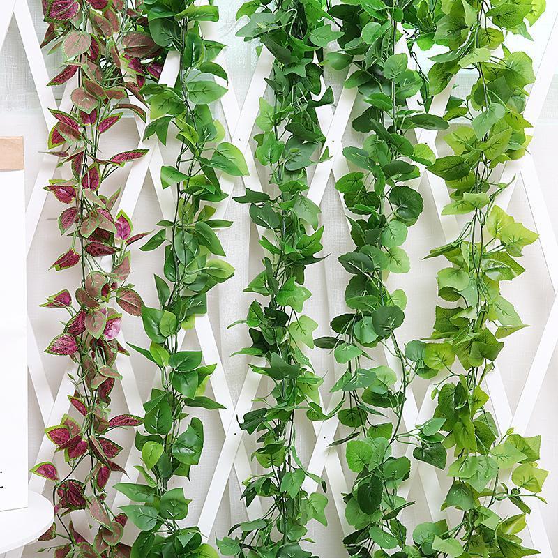 Пластиковые Ratten висит искусственный зеленый лист гирлянды лоза листва поддельных растений партия снабжение свадьбы садовые украшения дома