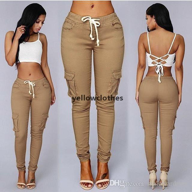 Women Pockets Cargo Pants Solid Color Casual Slim Fit Hip Up Long Pencil Pants
