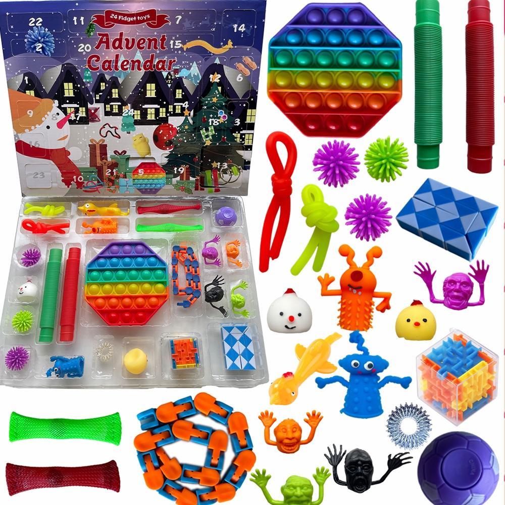 24 stücke Set Weihnachten Zappel Spielzeug Adventskalender Blind Box Geschenke Einfache Grübchen Dekompression Spielzeug Push Bubbles Kinder Weihnachtsgeschenk EEA