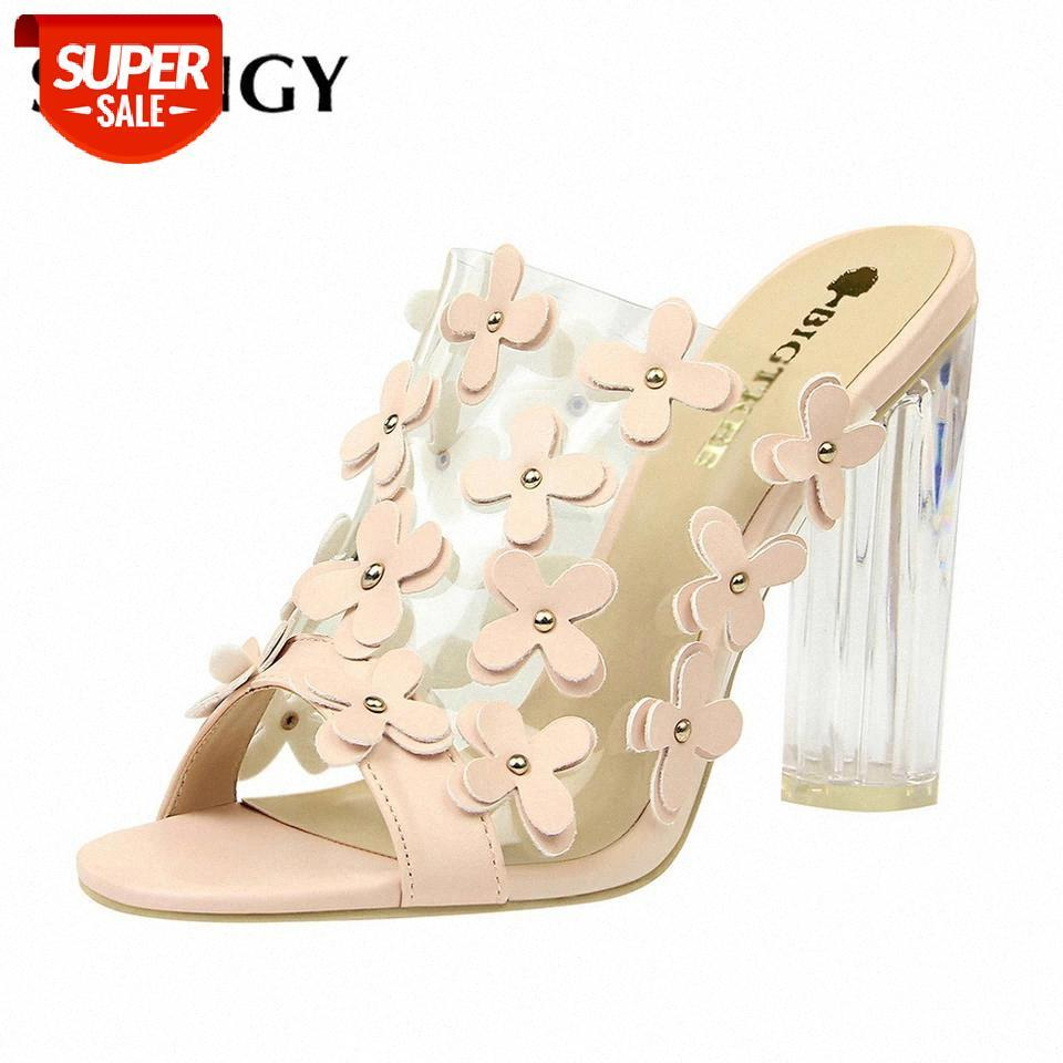 2020 Frauen Sandalen 9,5 cm Transparent Kristallblumen Süße Schönheit Schuhe Sommer High-Heeled Sandalen Frauen Party Hausschuhe # NA5Z