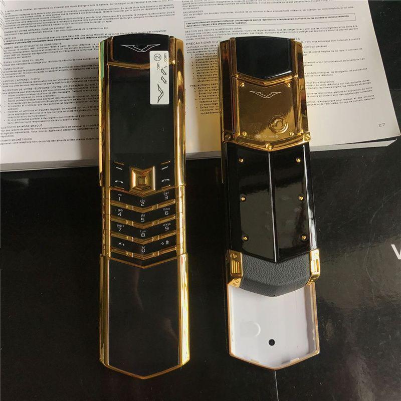 Unlocked Luxury Gold Klassische Signature Slider Dual Sim Card GSM Mobiltelefon Edelstahl Körper Bluetooth 8800 Metall Keramik Mobiltelefon