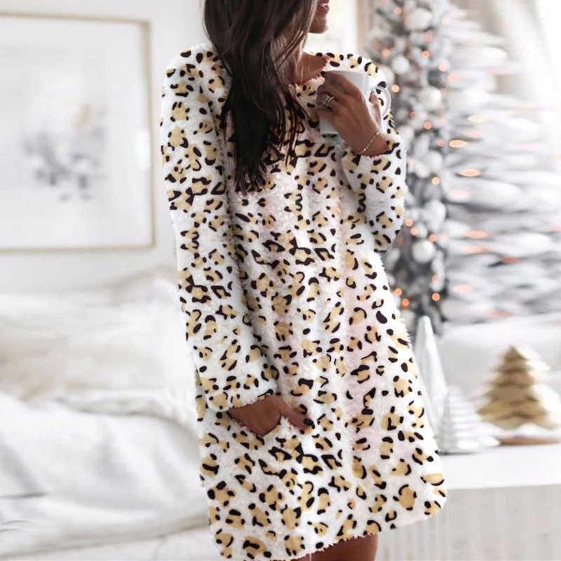 Camouflage Leopard Frauen Kleid Herbst und Winter Oansatz Kleider Frauen Kleidung Elegante Langarm Casual Warm Mini Kleid 210603