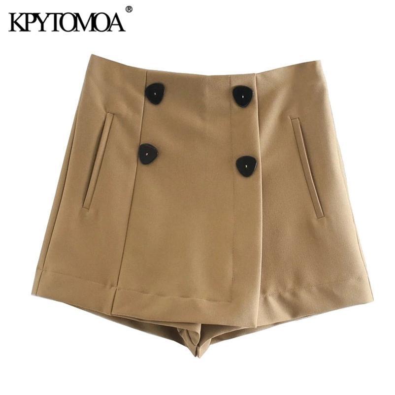 KPyTomoa mulheres chique moda com botões duplo shorts saias vintage cintura alta zíper feminino skort mujer 210304