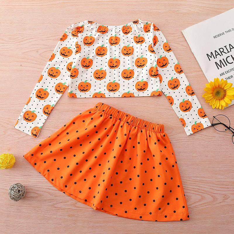 kids Clothing Sets girls Halloween outfits Children Pumpkin print Tops+Dots skirts 2pcs/set summer Spring Autumn fashion Boutique baby Clothes
