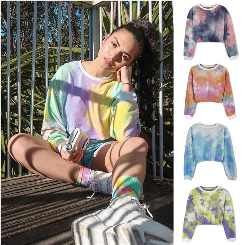 2021Women T Shirt Rainbow Gradient Crop Top Long Sleeve Hoodies Spring Fall Shirts Sweatshirt Girls Pullover Fashion Tops Clothes