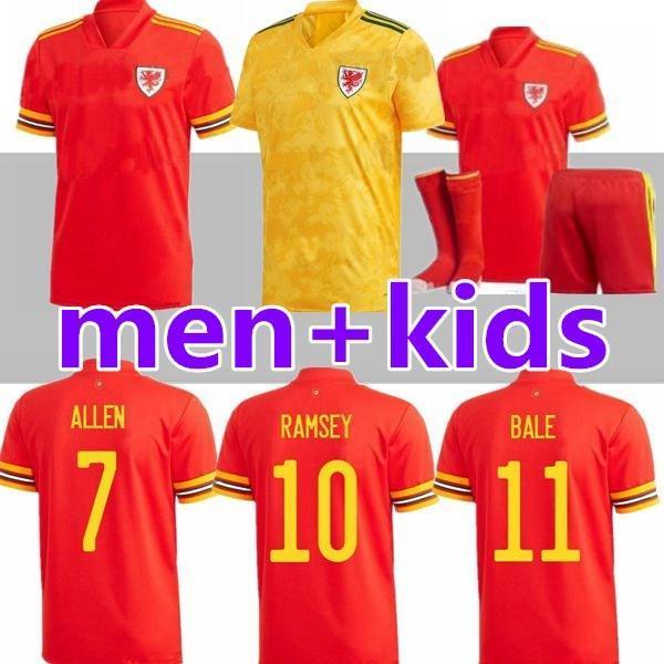 2020 2021 Pays de Galles Équipe nationale Jerseys Jerseys Jeux Cymru Accueil Bale Bale James Ramsey Hommes Enfants Maillot de Football Shirts Camisetas
