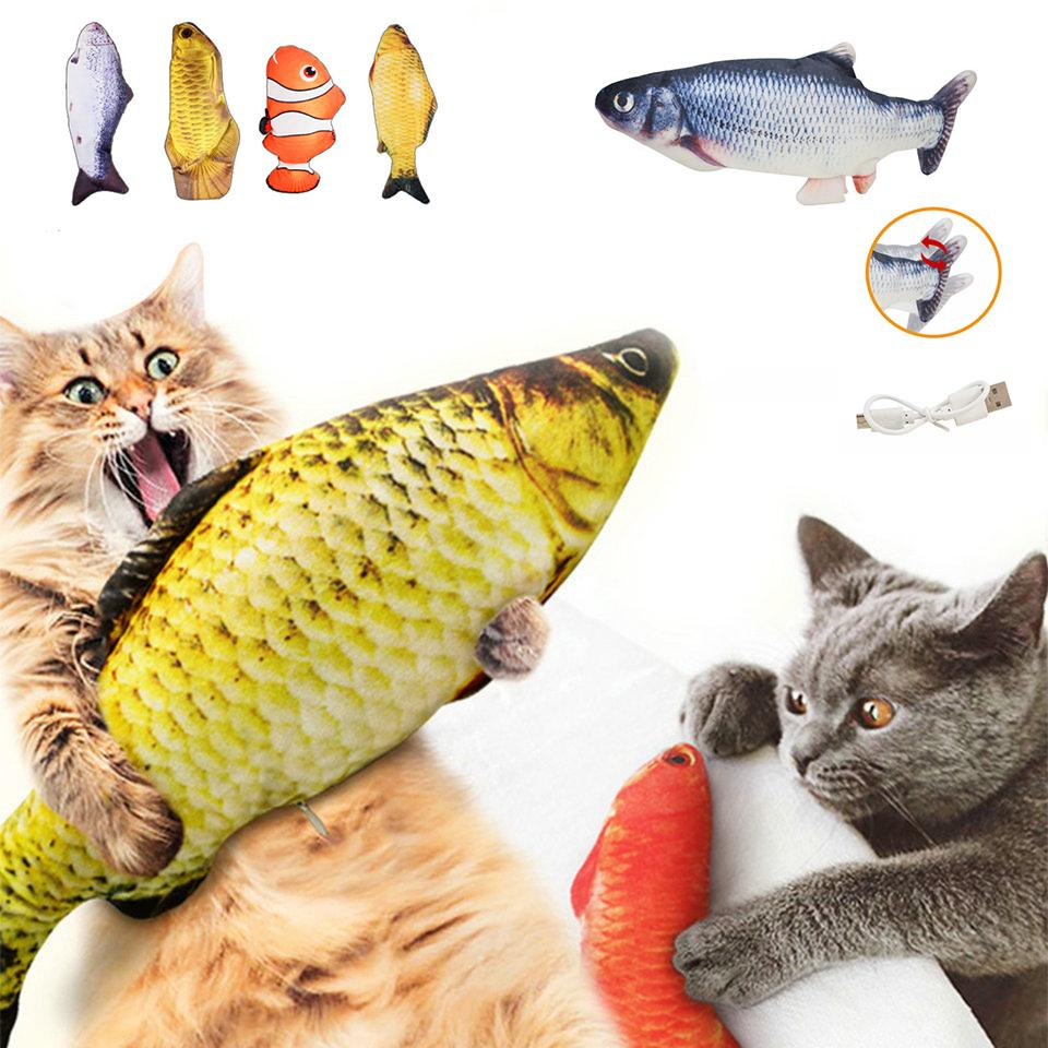 Electric Cat Toy Fish USB Charger Interactive Realistic Pet Cats Chew Bite Toys Floppy Fish Cat toy Pet Supplies For Cats w-00714