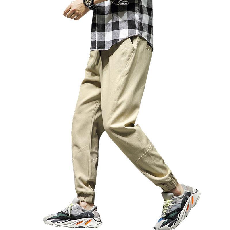 Hommes Rubans Streetwear Pantalons Jogger Taille élastique 2021 Pantalons Hip Hop Rubans Cargo Pantalon De Bas