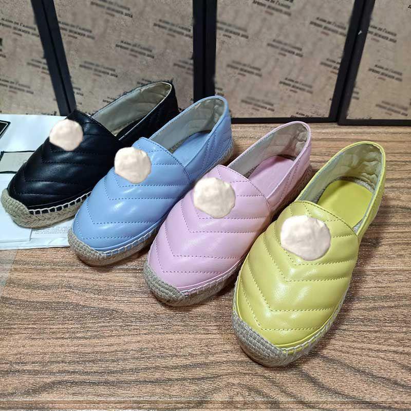 Qualidade superior versão mais nova moda couro espadrille com logo logo sapatos casuais desenhador sapatos mulheres de couro real mocassins sneaker