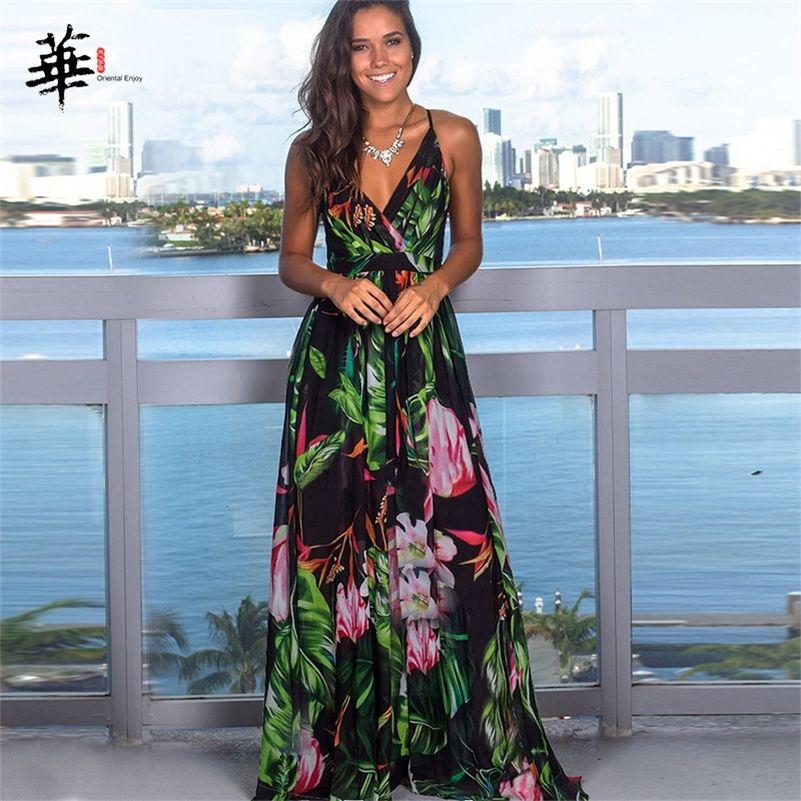 Boho vestido de verão mulheres multicolor v-pescoço maxi vestido longo vestidos para mulheres plus size roupas sexy partido mulher vestido novo vestes 210309