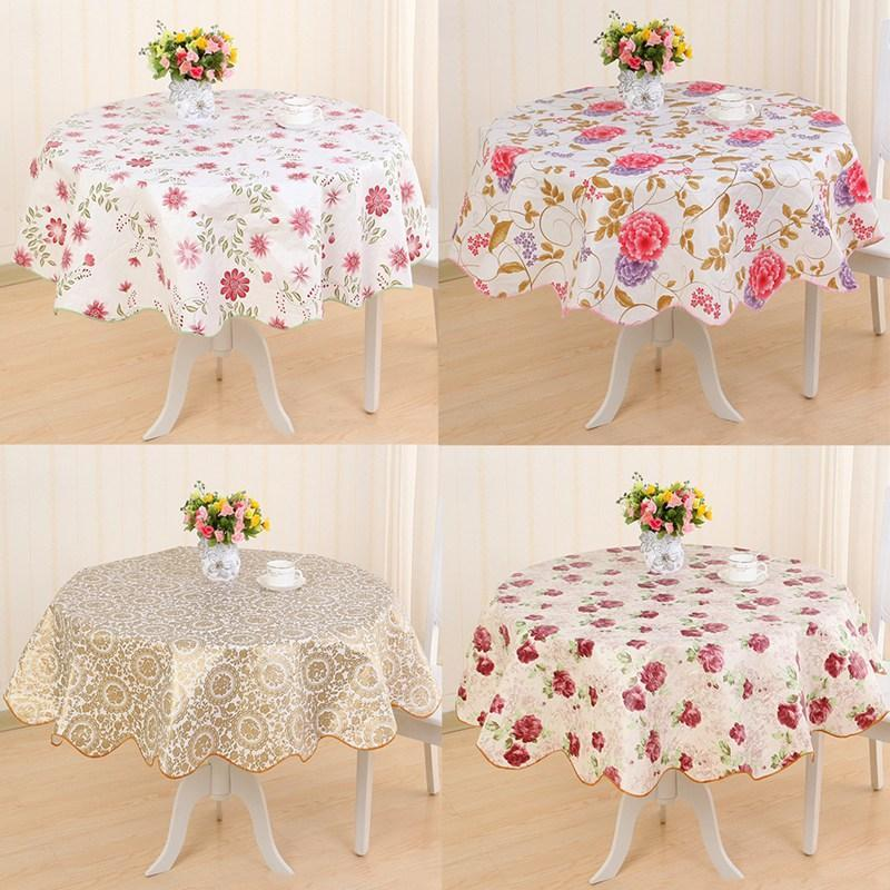Pastoral Round Tablecloth Plastic Waterproof Oil Proof Table Cover Floral Printed Lace Edge Anti Hot Coffee Tablecloth
