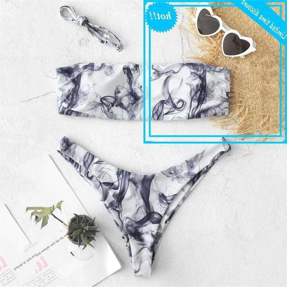 Femmes Bandeau Bandage Ensemble Push-up Maillots de maillots Brésiliens Beachwear Sexy Bretelles Imprimé Haute Taille Bikini Maillisit de maillot de bain