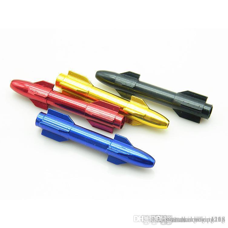 다채로운 미니 로켓 알루미늄 플라스틱 연기 담배 파이프 미니 저렴 한 유리 흡연 손 건조 허브 파이프 판매